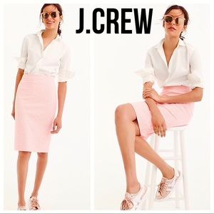 J.CREW No. 2 Pencil Skirt pink white gingham Sz 0